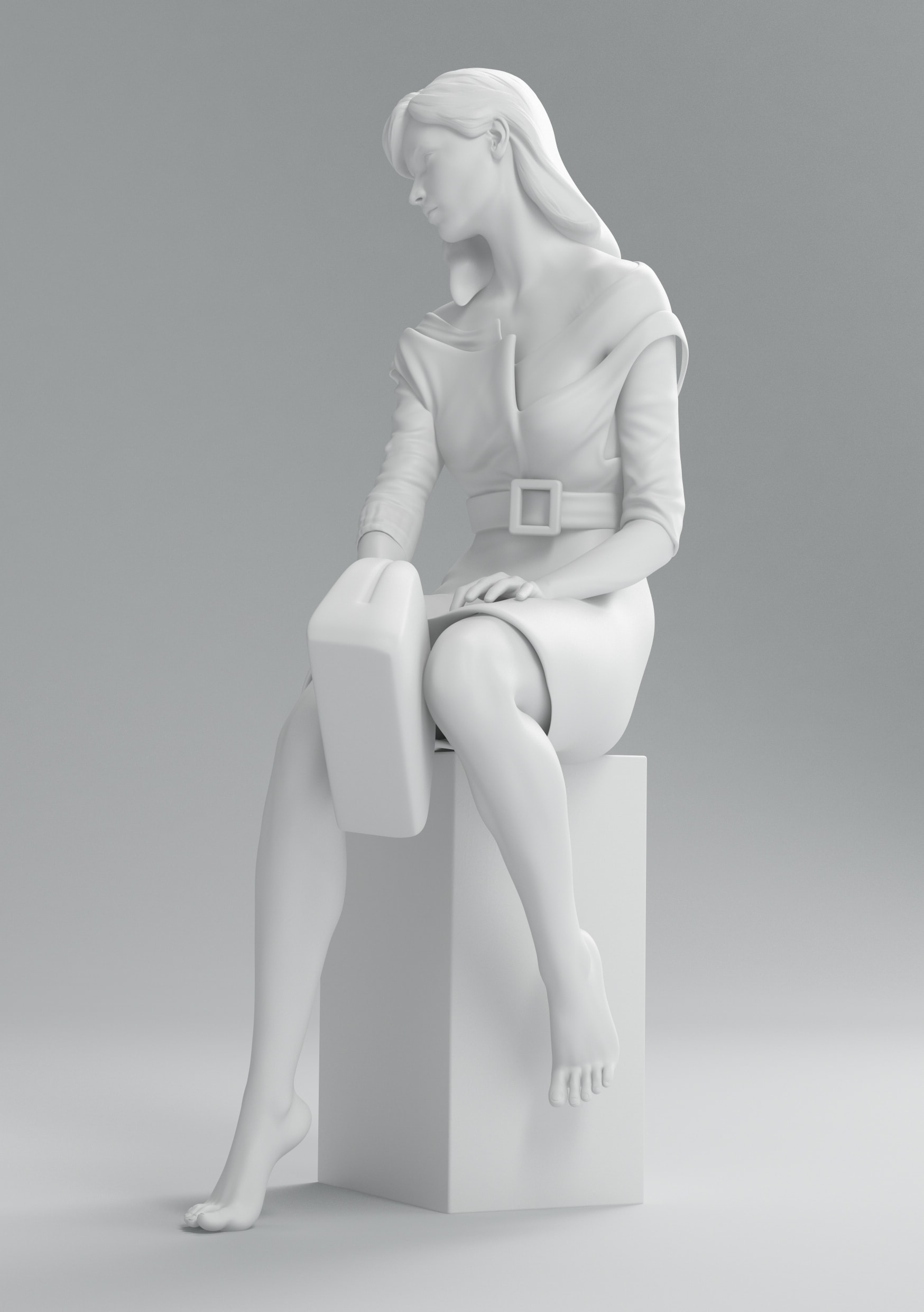 Prada monochrome fashion render statue collection cgi still