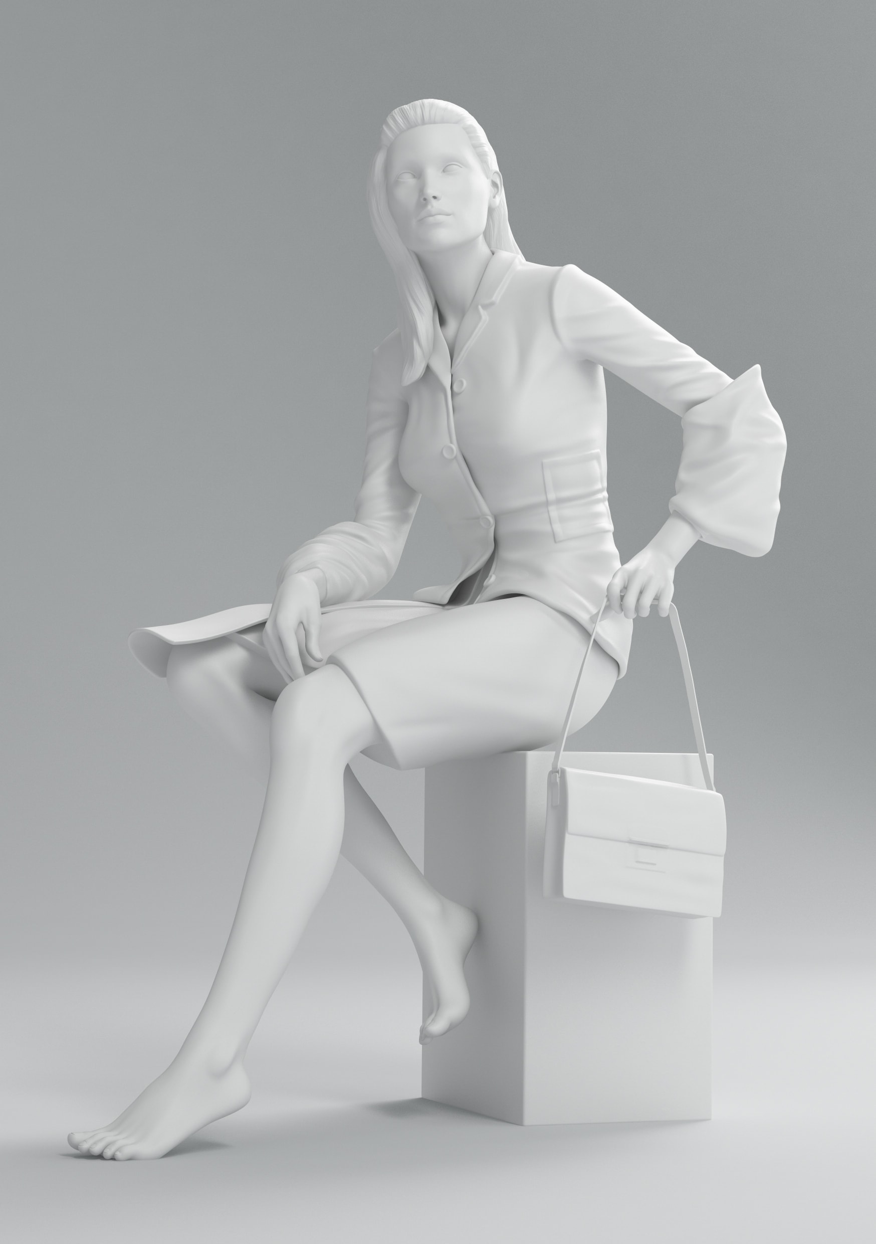 Prada black and white fashion render statue collection cgi still