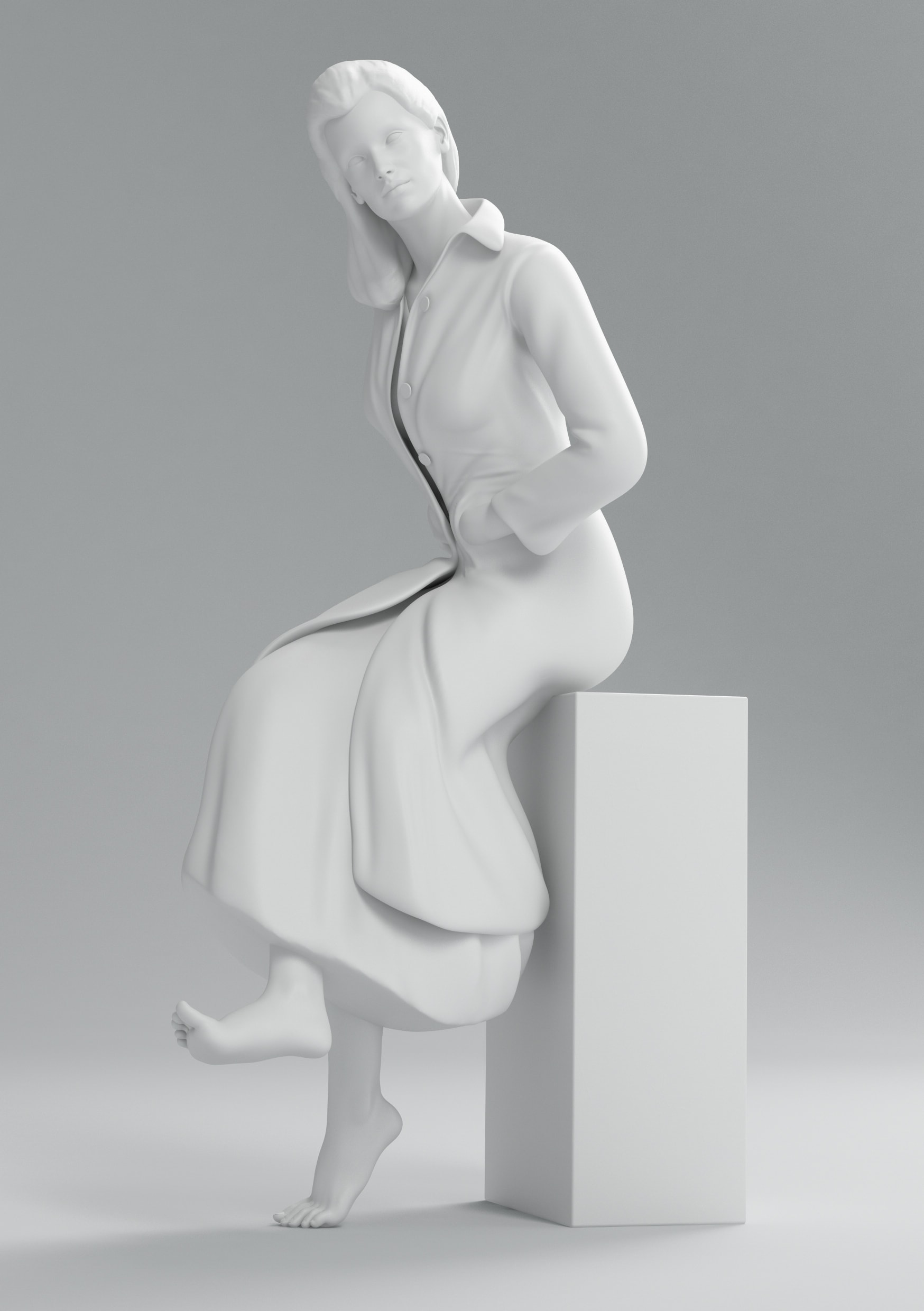 Prada black and white fashion render pose collection cgi still