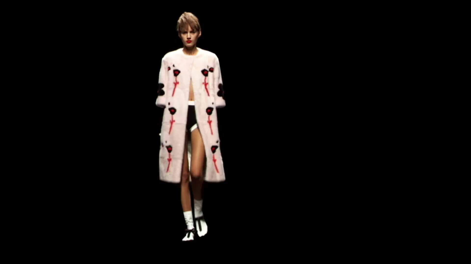 Prada flowers logo design cgi fashion catwalk runway black