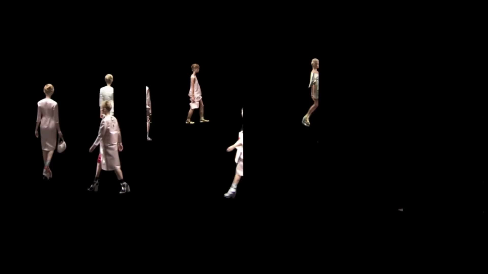 Prada flowers logo design cgi fashion catwalk runway animation