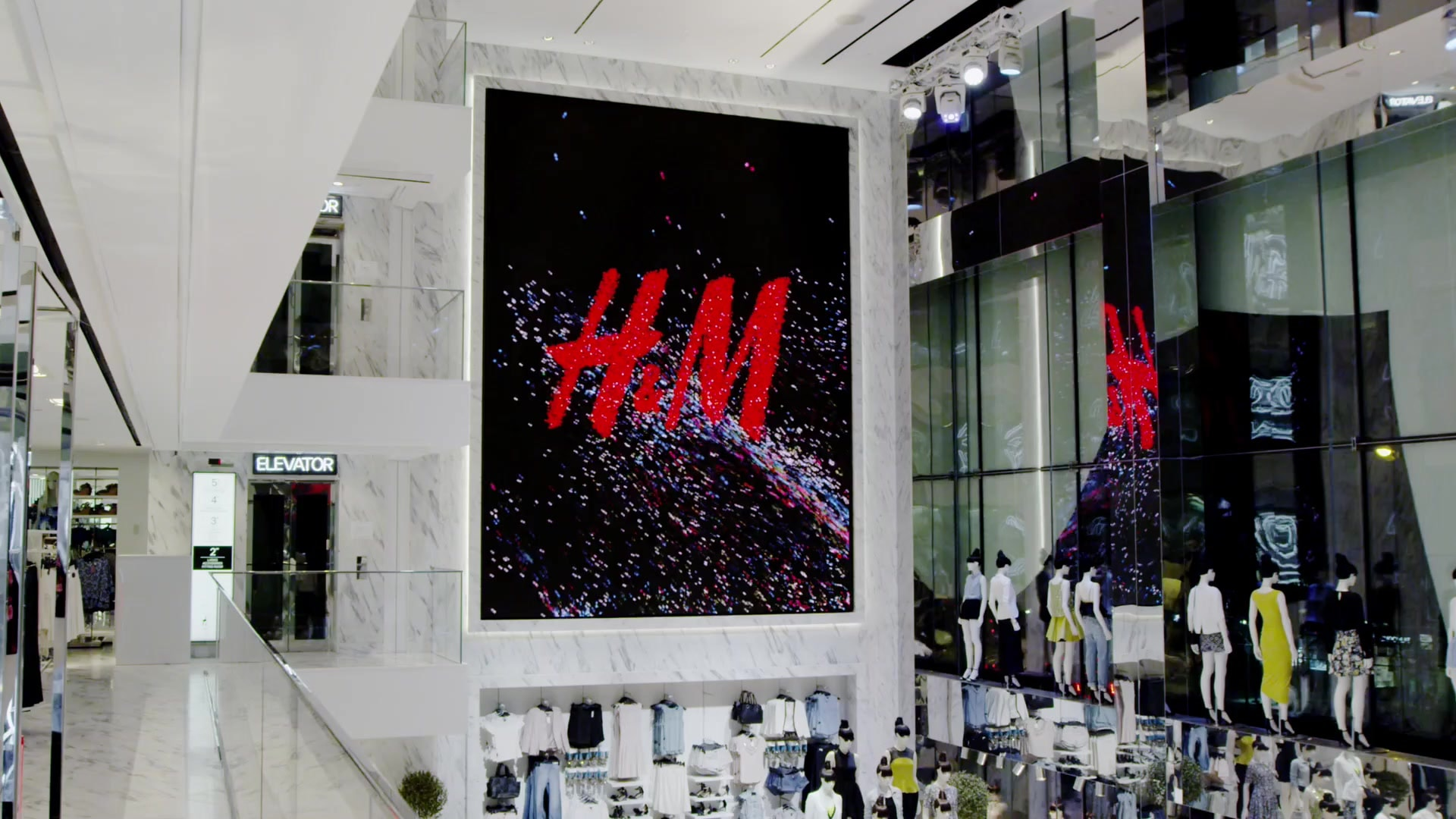 H and M retail logo film design abstract instore new york