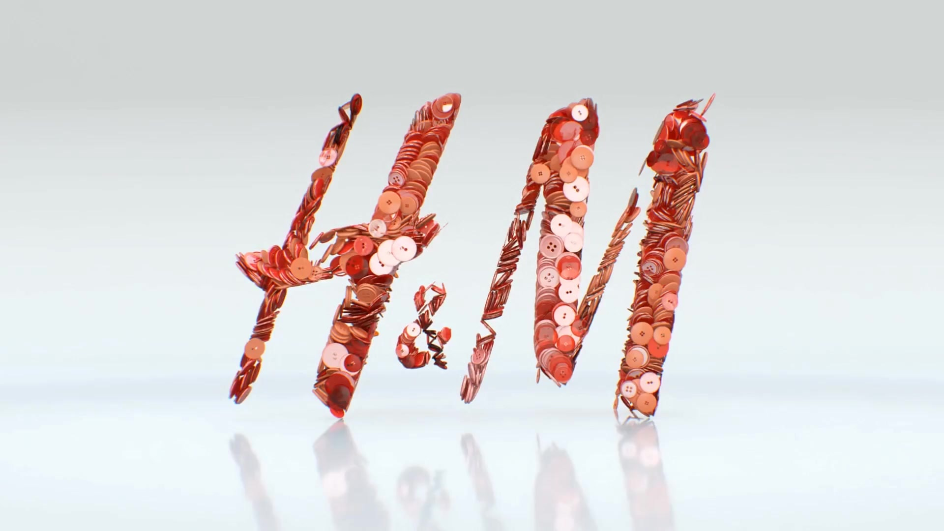 H and M retail logo film design buttons video 3d