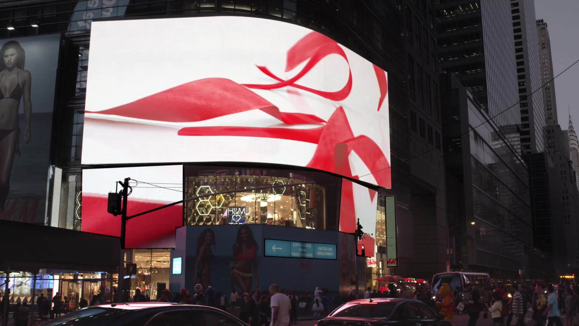 H and M retail logo film design cgi ribbon video 3d