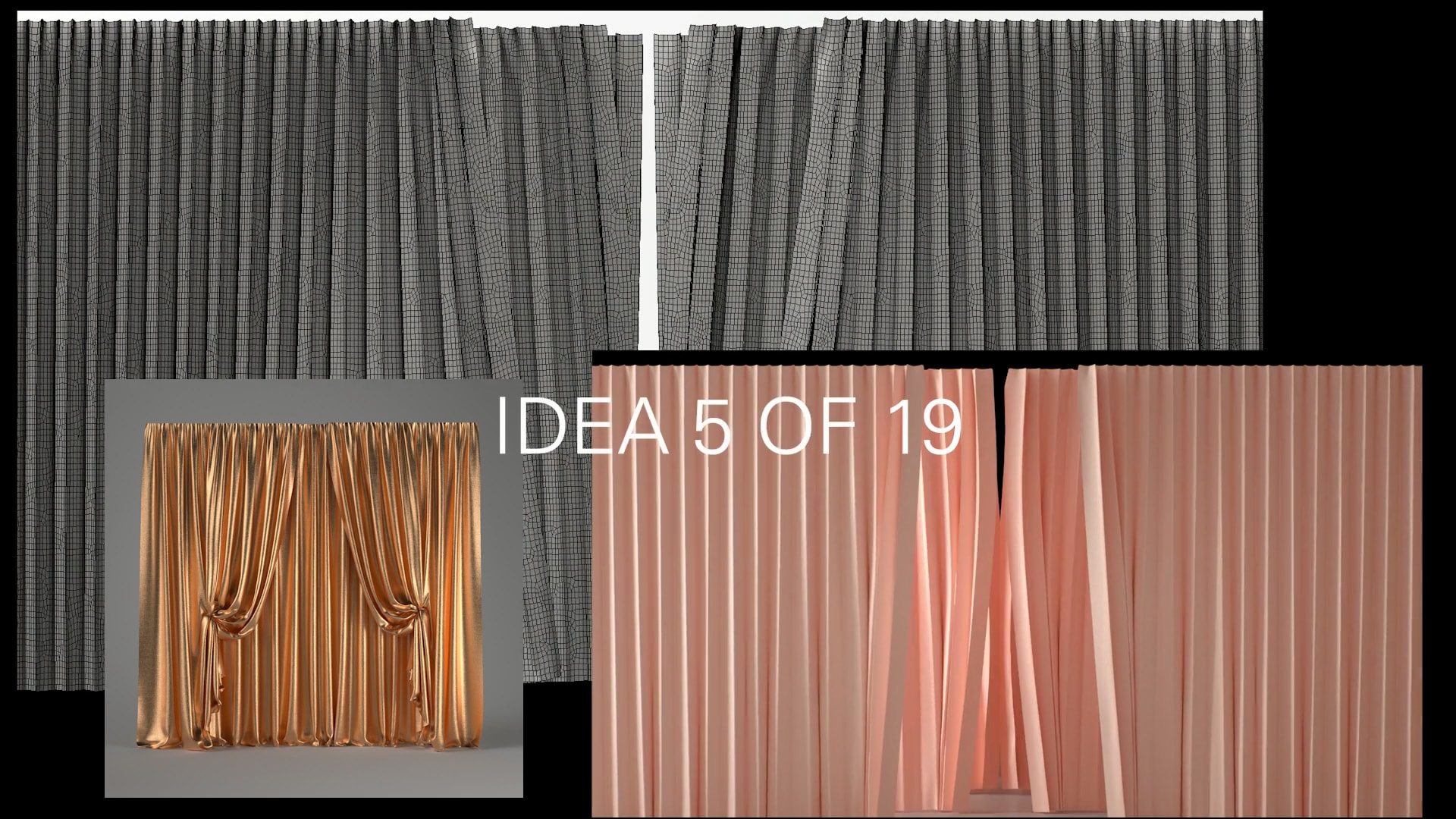 50 Days self initiated experiments curtains 3d cgi design